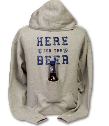 Handy Alcoholic Attire - The Beer Hoodie Sweatshirt Makes Drinking Hands Free
