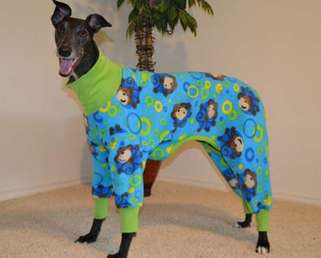 Dorky Dog Sleeping Ensembles - The Custom Fleece Greyhound Jammies are Cute and Hilarious