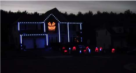 Korean Pop House Decorations - A Halloween Light Show Gangnam Style in Leesburg Lights Up the Sky