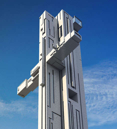 Contrasting Crucifix Skyscrapers