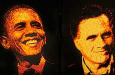 Cheesy Presidential Depictions - The Romney and Obama Cheetos Portraits Look Delicious (UPDATE)