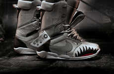 Snarling Shark Snowboard Shoes - The Limited Edition Nike Zoom DK QS Boot Bites into the Snow
