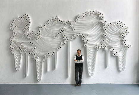 Toilet Paper Wall Installations - Sakir Gokcebag Creates Stunning Art Made from Bathroom Tissues