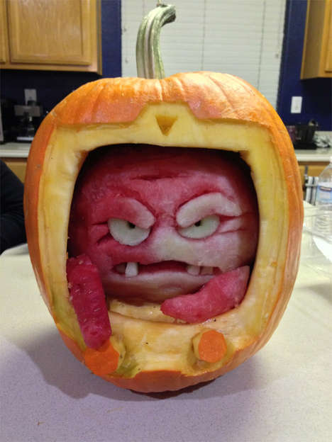 Cartoon Villain Carvings - The Krang O' Lantern is a Spooky Watermelon and Pumpkin Hybrid