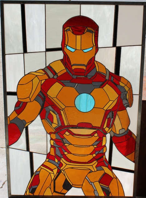 Stained Glass Super Heroes - The Iron Man Stained Glass Window is Stunningly Heroic