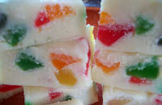 Gummy Fudge Squares - The Gumdrop Fudge Bars Hold Rainbow-Colored Gummies Under White Fudge