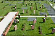Outdoor Block Installations - The Brick Garden by Pearce Brinkley Cease & Lee is Orderly Geometric