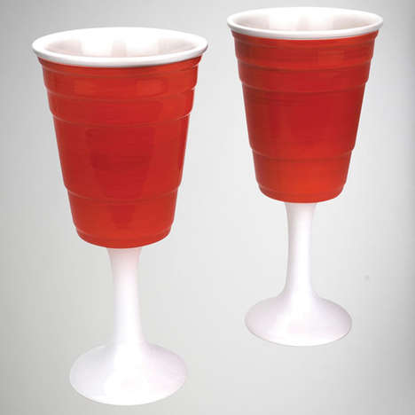 Classy Party Alcohol Cups - The Red Cup Wine Glasses Makes Your Staple Plastic Drinkware Elegant