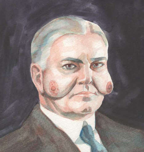 Naughty Political Portraits - Emily Deutchman's 'Presidents with Boob Faces' Are Comic