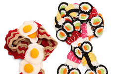 Scrumptiously Savory Scarves - Nom Nom Sushi and Bacon Scarves Look Good Enough to Eat