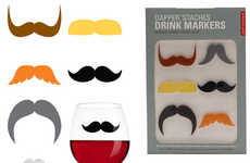 Hairy Drinking Accessories - Claim Your Drinks the Itchy Twitchy Way with the Mustache Glass Markers
