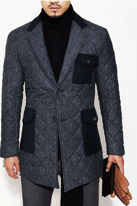 Sleek Gem-Inspired Jackets - Guylook's Diamond Quilting Blazer Coat Makes Winter Suiting Luxe