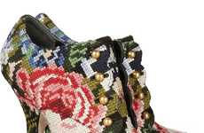 Floral Needlework Heels - The Dolce & Gabbana Tapestry Boot is One Crafty Designer Shoe