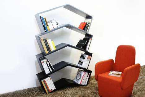 Angle-Mirrored Bookcases