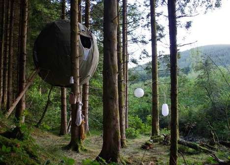 Tree-Suspended Temporary Tents - The Luminair Tree Tents Make for Creative Camping Solutions