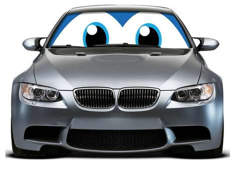 Automobile Peeper Decals - Car Eyes Sun Shade Turns Your Ride Into a Giant Cartoon Character