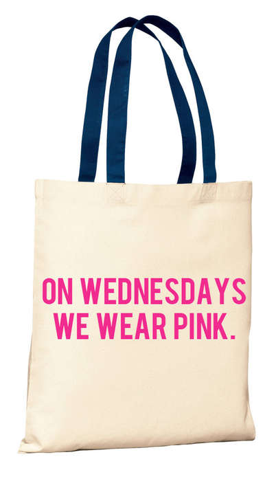 Color-Decisive Totes - The 'We Wear Pink On Wednesdays' Bag is Fashioned After Mean Girls