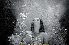 Bubbly Underwater Ads - The Schweppes Campaign Features Artistic Grayscale Photography