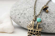 Infant Carriage Jewelry - The Whimsy Baby Pram Necklace is Adorably Sophisticated