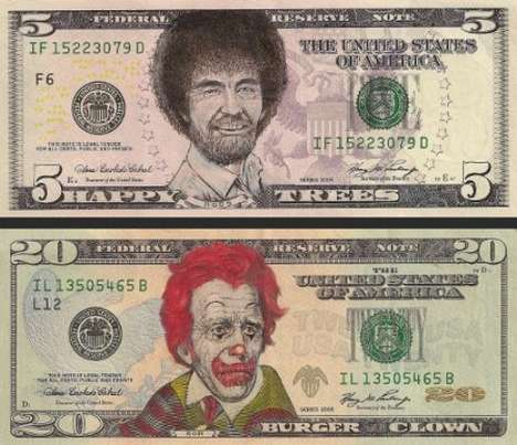 Legal Tender Art - The Dollar Bill Art Features Some of the Most Recognizable Faces in Pop Culture