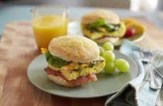 Concealed Spinach Sandwiches - The Greens, Eggs and Ham Biscuits are a Hearty Breakfast Meal