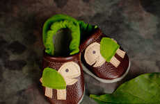 Adorably Shelled Booties - The Turtle Leather Shoes are Soft Slip-Ons for Your Toddler