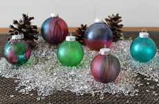 DIY Tie-Dyed Ornaments - The Brit + Co. Stained Glass Holiday Hack is an Inexpensive Personalization