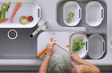 Sink-Centric Concept Kitchens - The Simple Life Kitchen Sink System Increases Food Prep Efficiency