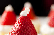 Hat-Topped Holiday Tarts - The Santa Hat Cheesecake is a Cute Christmas Dessert