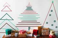 Alternative Tape Holiday Trees - The Brit + Co. Washi Christmas Wall is Simple and Festive