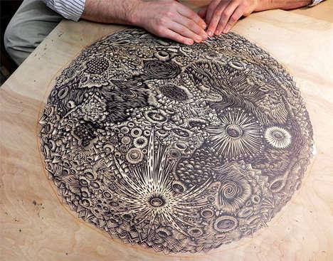 Hand-Carved Lunar Art