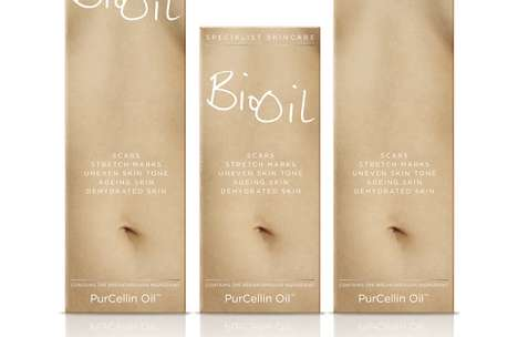 Belly-Branded Ointments - Bio Oil Packaging Flaunts Flawless Skin to Express its Epidermal Specialty
