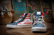 Americana Skater Shoes - These American Flag Shoes by Vans California are a Patriotic Tribute