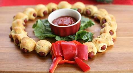 Hot Dog Holiday Decor - The Mini Crescent Dog Wreath Makes Pigs in a Blanket Festive