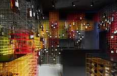 Techincolor Grid Cellars - Kreis Wine Shop Interior Was Designed by Furch Gestaltung + Produktion