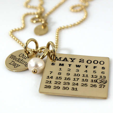 Golden Nuptial Day Necklaces - The Wedding Day Calendar Jewelry Accentuates Your Important Day