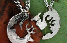 Loving Deer Coin Necklaces - The Doe Buck Relationship Quarter Displays Two Intertwined Animals