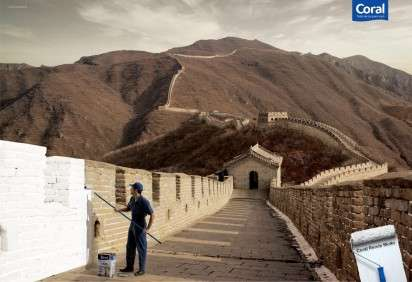 This Paint Ad Shows a Man Painting the Great Wall of China