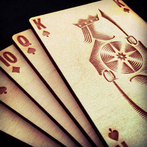 Woodcut Playing Cards - The Very Artistic Polaris Wooden Card Deck Will Jazz Up Casino Nights