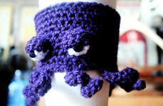 Sea Creature Beverage Sleeves - The Grumpy Octopus Cup Cozy is for Grouchy Coffee Drinkers