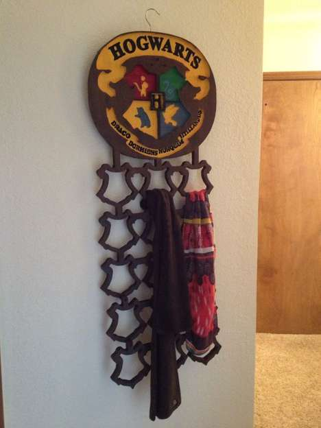 DIY Wizarding Garment Shelves - The DIY Harry Potter Scarf Rack is a Magically Tricky Project