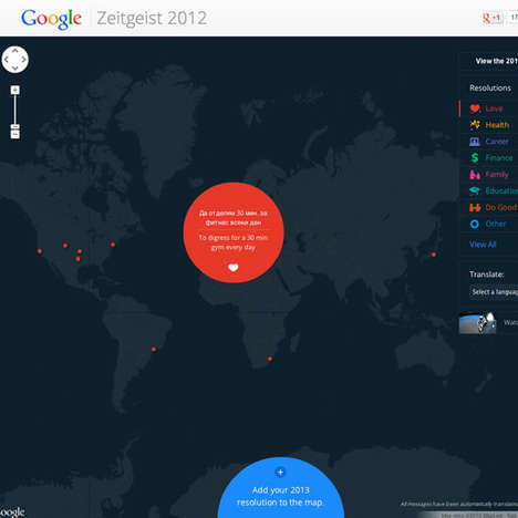 Search Engine-Mapped Goals - Google Zietgeist Resolutions Unites the World and Encourages Progress