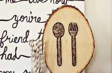 String-Constructed Utensil Crafts - The 'A Beautiful Mess' Kitchen Wall Art Uses Knick Knacks