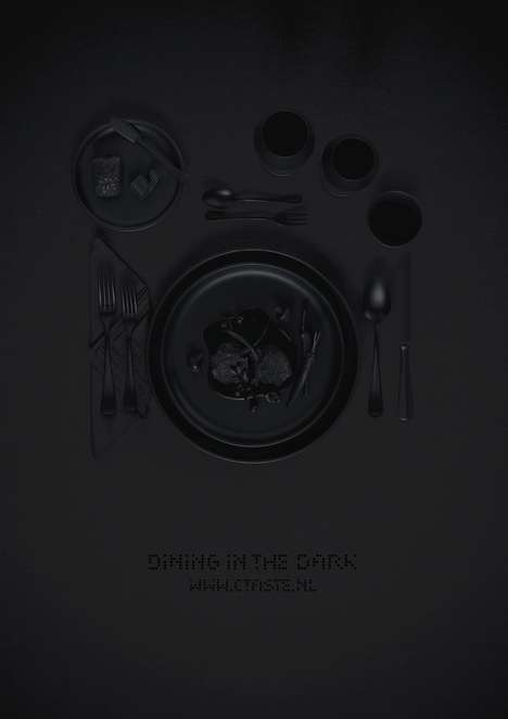 This Ctaste Dark Dining Promotion Poster is Cleverly All-Black