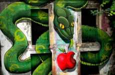 Serpentine Temptation Graffiti - The SOKRAM Original Sin Mural Critiques Society's Greed
