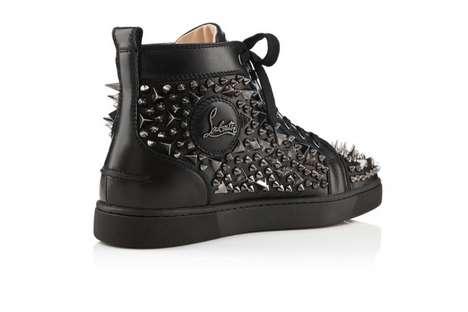 Gun Metal-Studded Sneakers