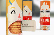 Blabbermouth Biscuit Branding - Bla-Bla Cookies Packaging Provides a Snack to Stop the Gossip