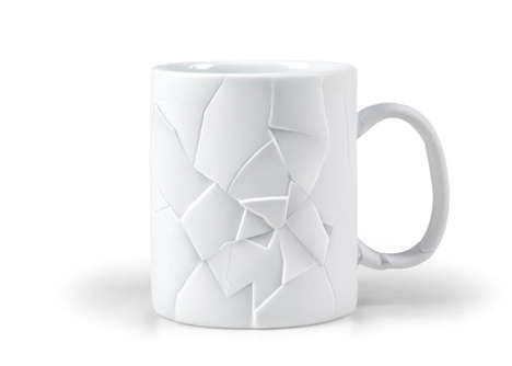Fragmented Coffee Cups - The Cracked Up Mug Appears Disjointed and Shattered