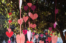 Blossoming Paper Heart Installations - The Tree Heart Installation is Made from Construction Paper