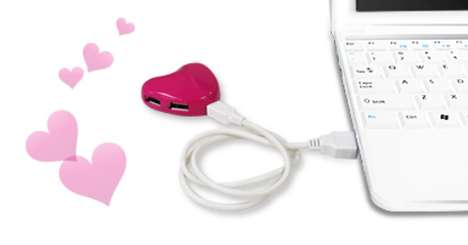 Heart-Shaped Device Outlets - The Love USB Hubs are Great Geeky Valentines Gifts